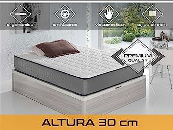Dormi Premium Elax 30 - Colchón Viscoelástico, 140 x 200 x 30 cm, Algodón/Poliuretano, Blanco/Gris, Matrimonio: Amazon.es: Hogar