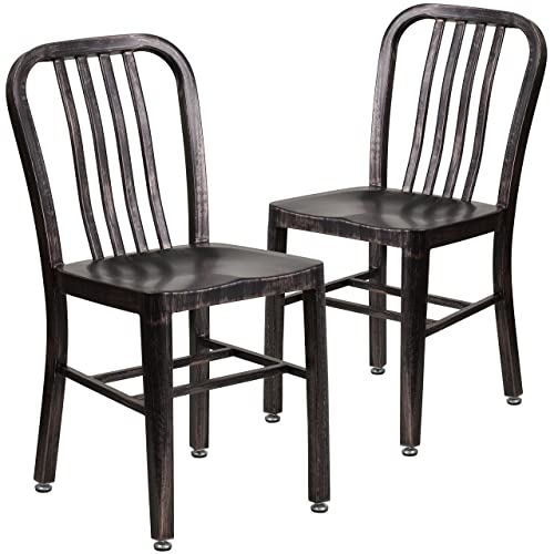 Flash Furniture 2 Pack Black-Antique Gold Metal Indoor-Outdoor Chair – 2-CH-61200-18-BQ-GG