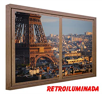 RETROILUMINADOS Cuadro Ventanas Falsas RETROILUMINADAS con Sensor DE Movimiento. Torre Eiffel Paris (120_x_80_cms,