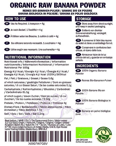 Orgánico sin procesar plátano en polvo - 500g (orgánico certificado): Amazon.es: Salud y cuidado personal