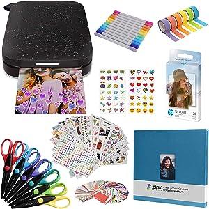 HP Sprocket Portable 2x3 Instant Photo Printer (Black Noir) Fun Scrapbook Bundle