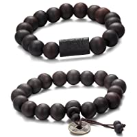 Jstyle 11mm Wood Bead Bracelet for Men Women Tibetan Buddhist Prayer Link Cool