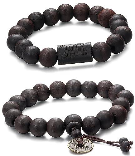 doux et léger 100% de qualité supérieure en soldes Jstyle 2-3 Pcs 11mm Bracelets Tibétain Bouddhiste Buddha Mala Chinois  Bracelet Elastique Perles en Bois pour Les Hommes et Les Femmes Lien Poignet