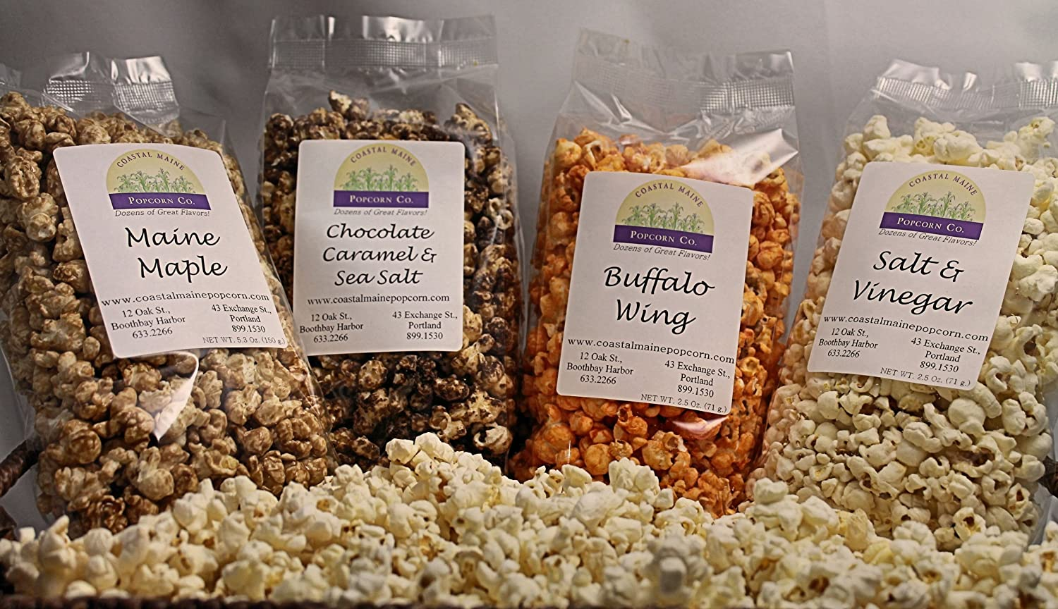 Coastal Maine Popcorn - Maine Maple, Salt & Vinegar, Buffalo Wing,  Chocolate Caramel Sea