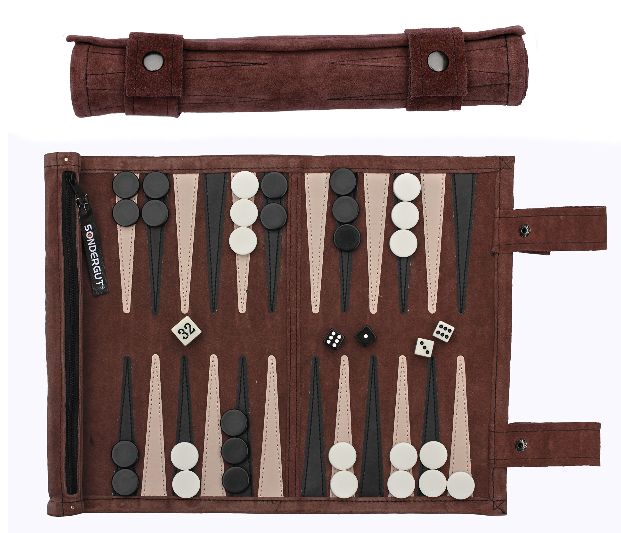 Sondergut Roll-Up Suede Backgammon Game (Color-Mocha)