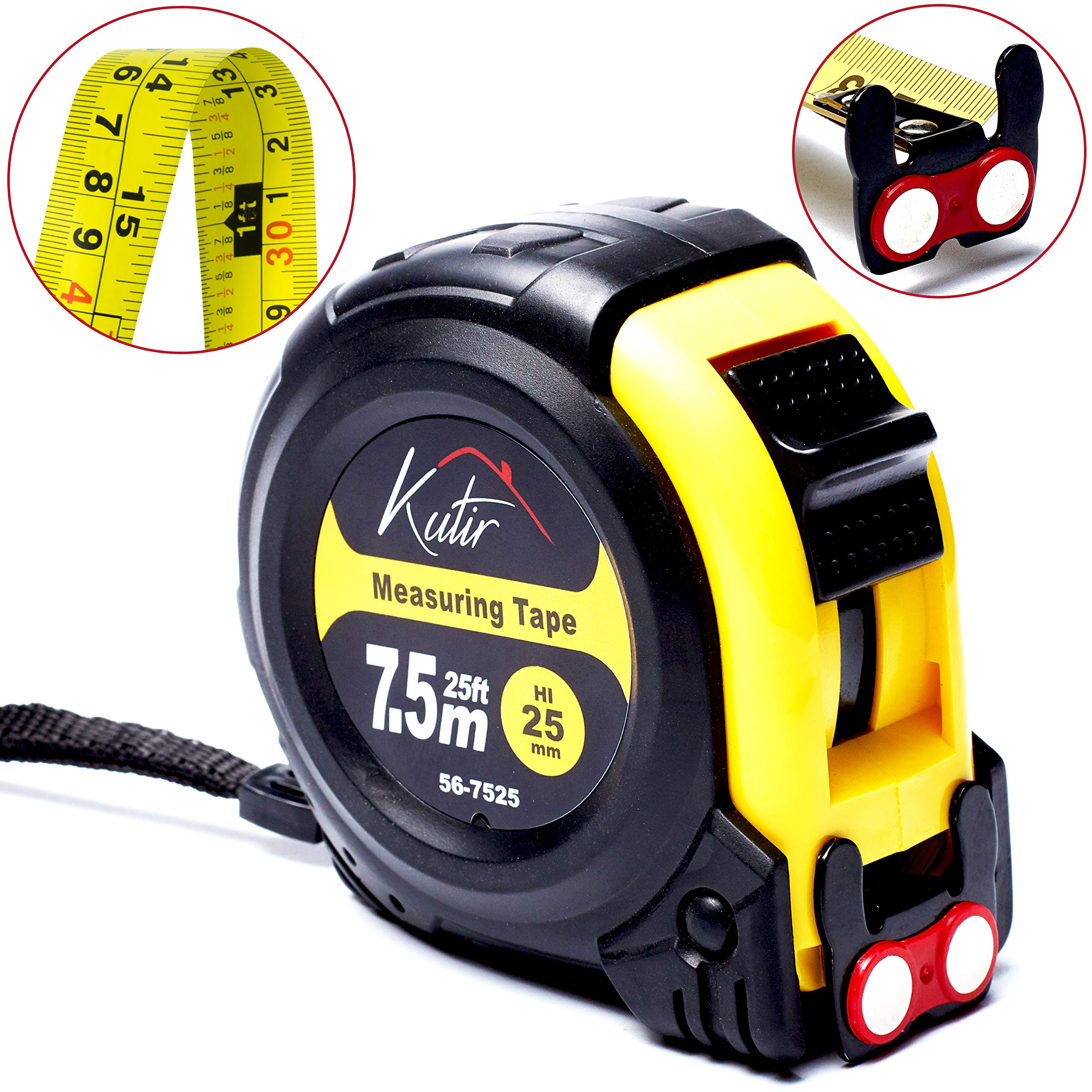 Measuring Tape Measure By Kutir - EASY TO READ 25 Foot BOTH SIDE DUAL RULER, Retractable, STURDY, Heavy Duty, MAGNETIC HOOK, Metric, Inches and Imperial Measurement, SHOCK ABSORBENT Solid Rubber Case by Kutir
