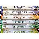 120bâtonnets de Stamford Premium Bâtonnets d'encens Aromathérapie Hex Gamme–Relaxation, soulager le stress, la méditation, rafraîchissant, Énergisant et Sensualité Coffret cadeau d'encens.