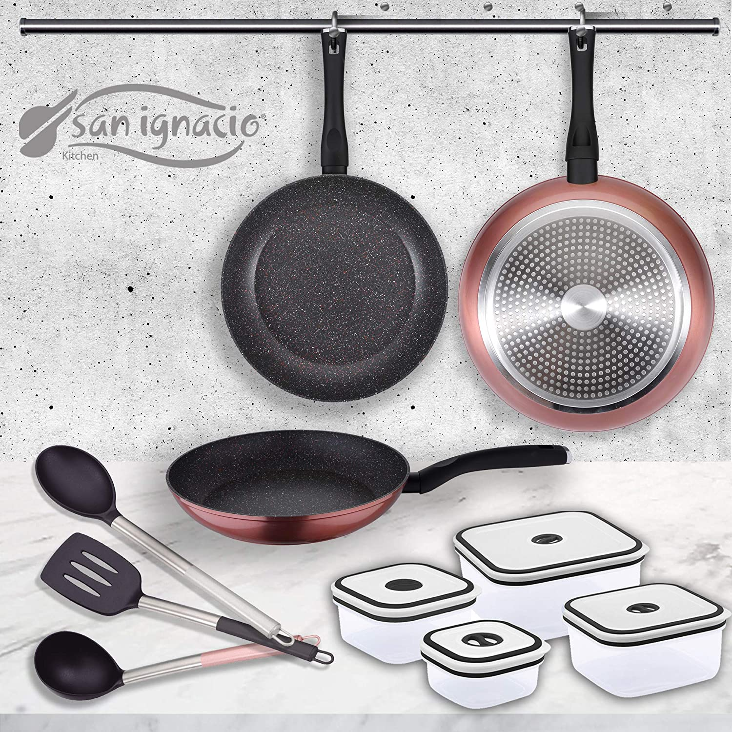Amazon.com: San Ignacio PK1411 Venus Set of 3 Frying Pans + 4 Lunch ...