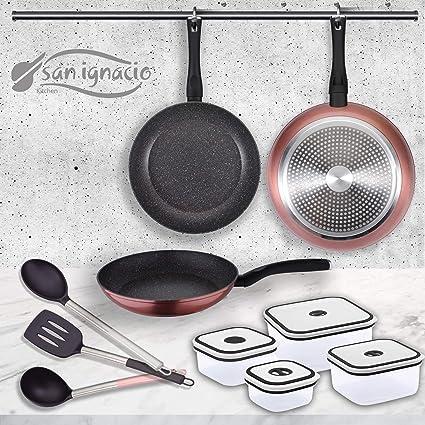 San Ignacio PK1411 Venus Set 3 sartenes + 4 fiambreras + 3 Utensilios, Aluminio Forjado