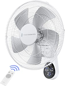 Wall Mount Fan, 16 Inch TaoTronics 5 Blades 5 Speeds Wall Fan w/ Remote Control, 90 Degree 8 Hour Timer Oscillating Fan for Bedroom Home Kitchen