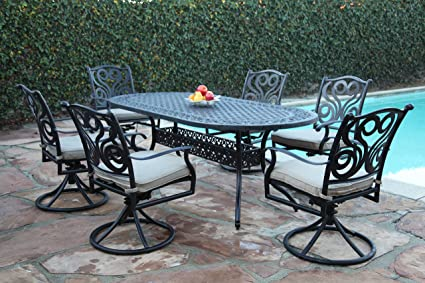 Amazing Cbm Outdoor Patio Furniture 7 Piece G Aluminum Dining Set With All Swivel Chairs Cbm1290 Ncnpc Chair Design For Home Ncnpcorg