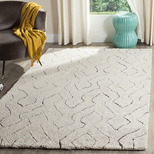 Safavieh Casablanca Shag Collection CSB211A Southwestern Ivory and Multi Area Rug 8 x 10