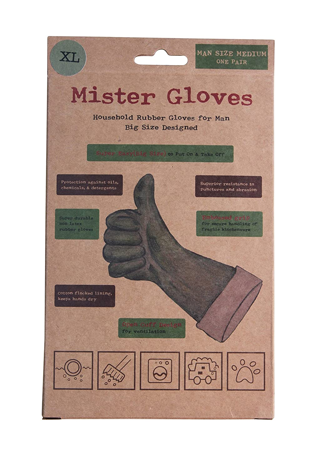 Mister Gloves Heavy Duty Rubber Gloves for Cleaning / Washing Dishes - Size XL = Man Size Medium
