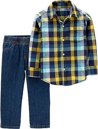 Carter's 2T-4T Juego de Camisa y Pantalones a Cuadros para niños