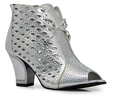 0716a170e25d Amazon.com | Enzo Romeo Net2N Womens Sexy Open Toe Mid Heel Wedding  Rhinestone Gladiator Booties Lace Bridal Sandal Wedge Shoes (7.5, Silver) |  Sandals