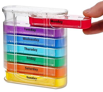 Organizador semanal de pastillas MEDca, para cuatro veces al día, dispensador con compartimientos para