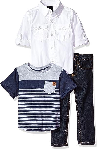 Abolai Baby Boys Long Sleeve Cotton Demin Shirt with Fleece