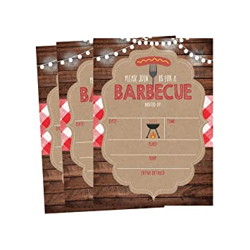 amazon com 50 wood summer bbq party invitations for children kids
