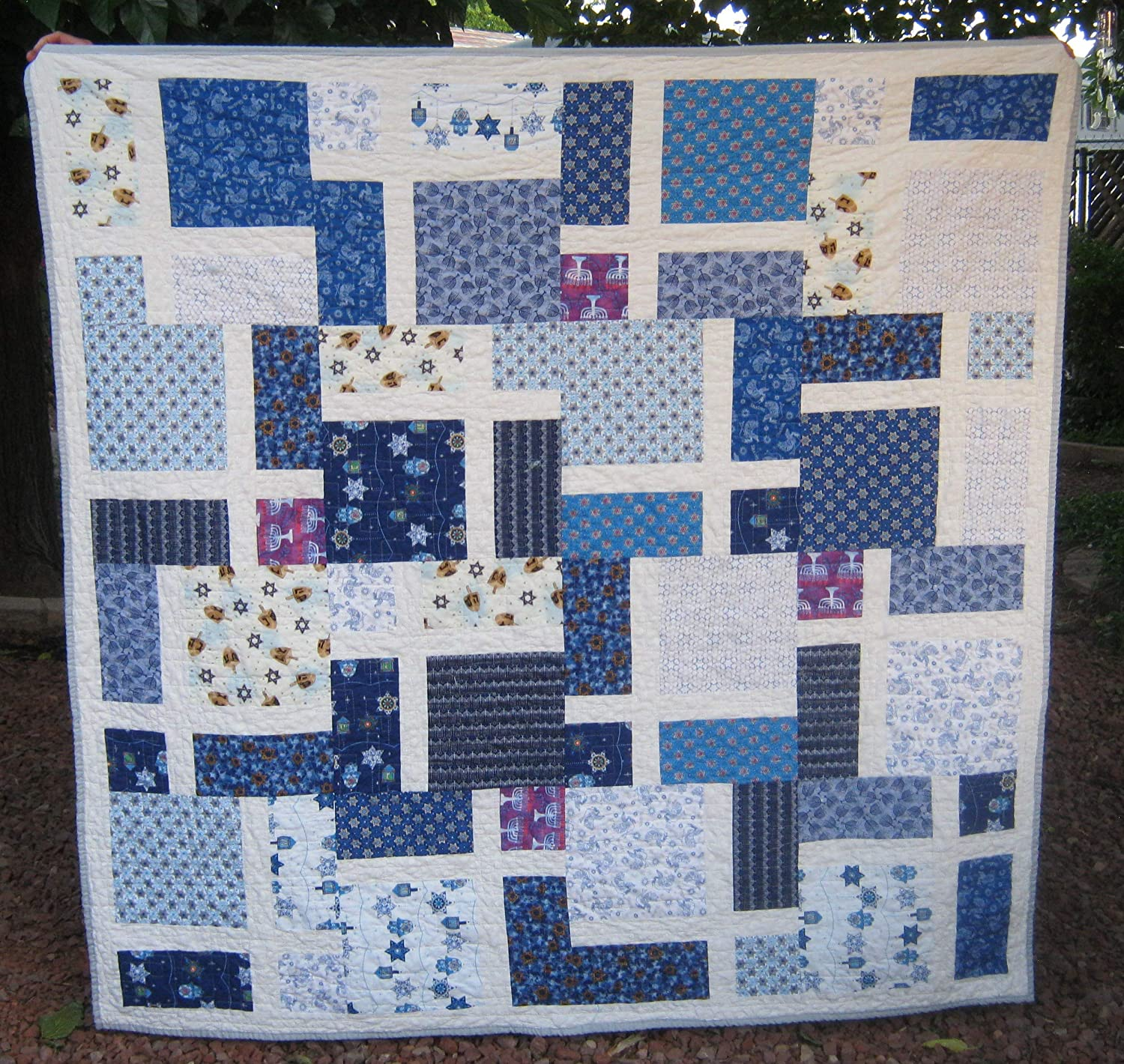 Image of Handmade Hanukkah Lap Quilt, Holiday Throw, Patchwork Fiber Art, Home Decor, Quilted Nap Blanket, Chanukah Gift Home and Kitchen