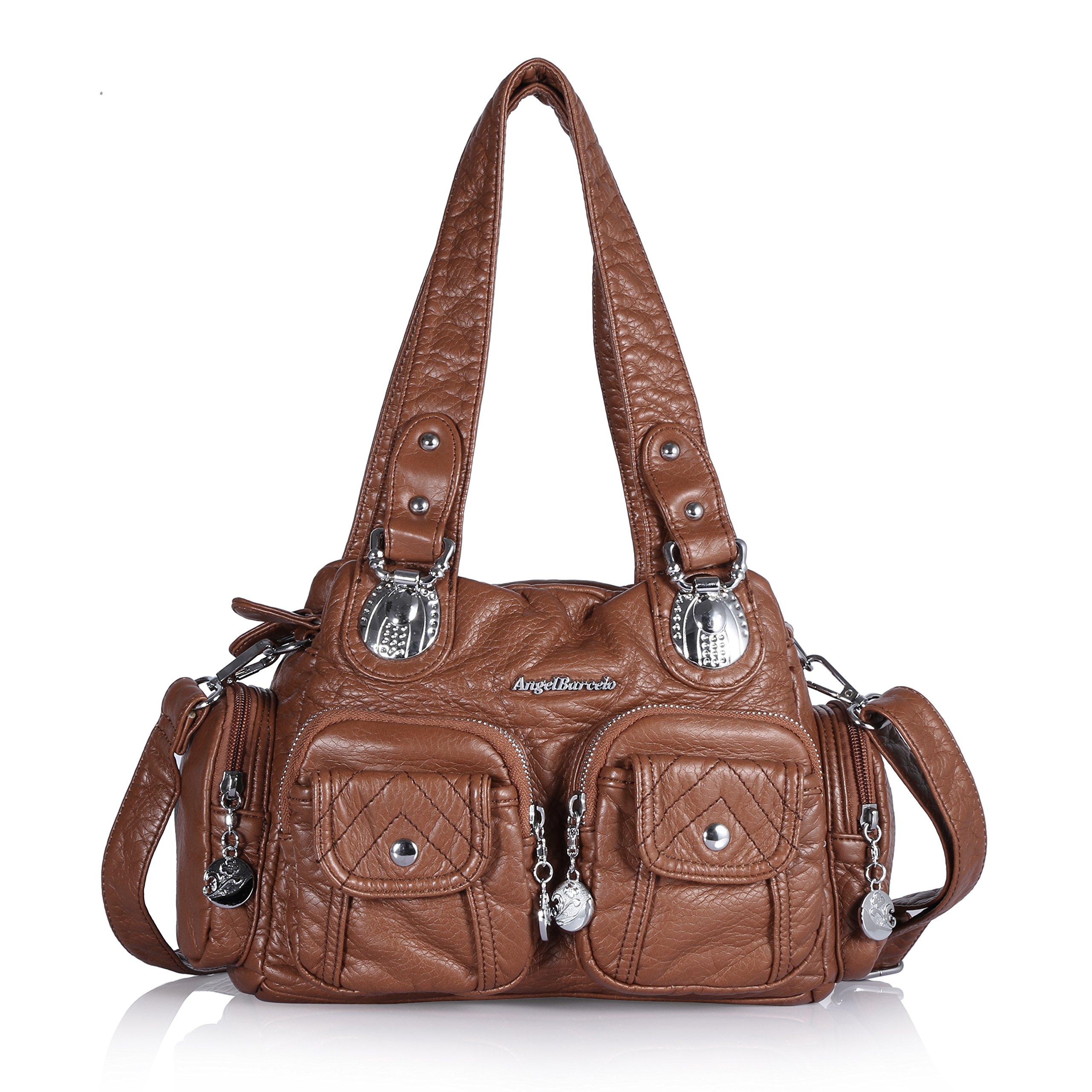 Angel Barcelo 3 Mini Handbags Women Purse PU Leather Top Zippers Multi Pockets Shoulder Bags … (Brown)