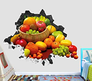 """Fruits Orange Apple Grape Wall Decal Sticker Smashed 3D Decor Vinyl Art View VIC217 (Small (Wide 22"""" x 16"""" Height))"""