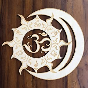"ZenVizion 13.5"" Sun Moon Union Wall Art, 7 Chakras OM, Sacred Geometry Wall Art, Wooden Wall Art Decor, Yoga Wall Art Hanging, Laser Cut Artwork, Wall Sculpture Symbol, Gift purpose"