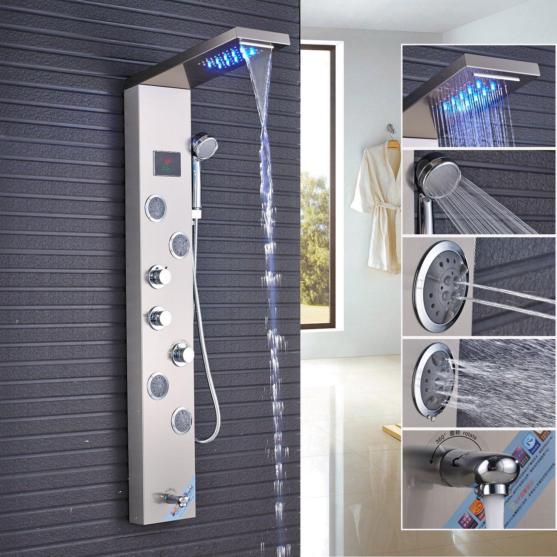 Rozin Temperature Display LED Light Rain Waterfall Shower Panel Set Tub Faucet + Handheld Spray + Massage Body Jets Stainless Steel