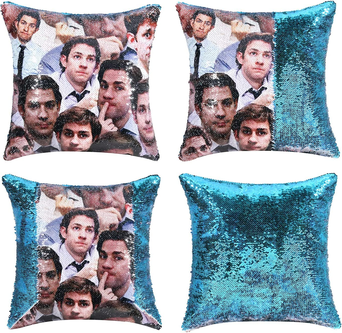 cygnus The Office Jim Halpert Sequin Pillow Cover Reversible Magic Mermaid Throw Pillow Case That Color Changes 16x16 inch,Blue
