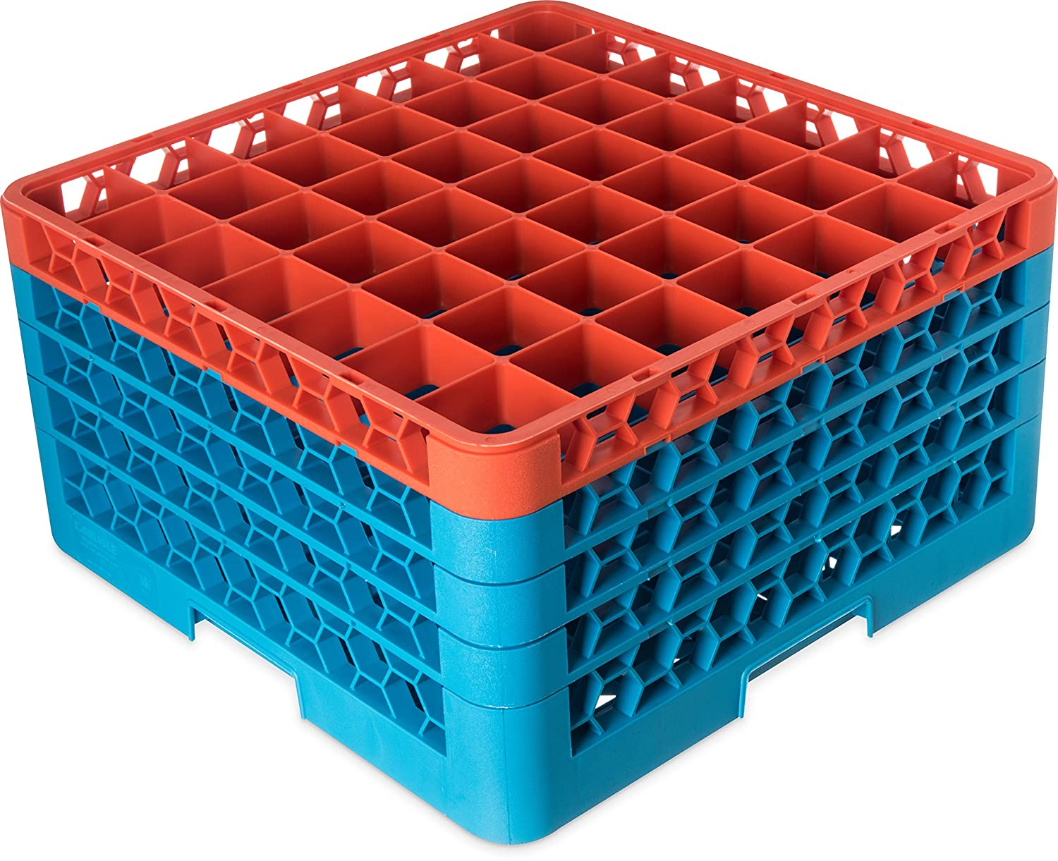 Pack of 2 Carlisle RG49-4C414 OptiClean 49 Compartment Glass Rack with 4 Extenders 10.3 Lavender-Carlisle Blue