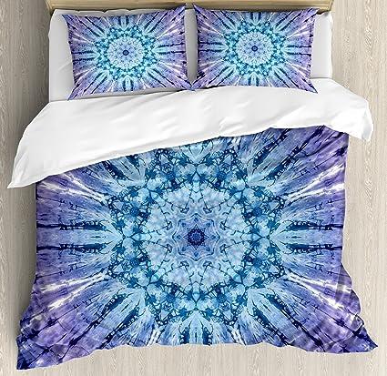 98754d7810e0 Ambesonne Tie Dye Decor Duvet Cover Set, Original Circle Mandala Motif  Centered Vibrant Spectral Color