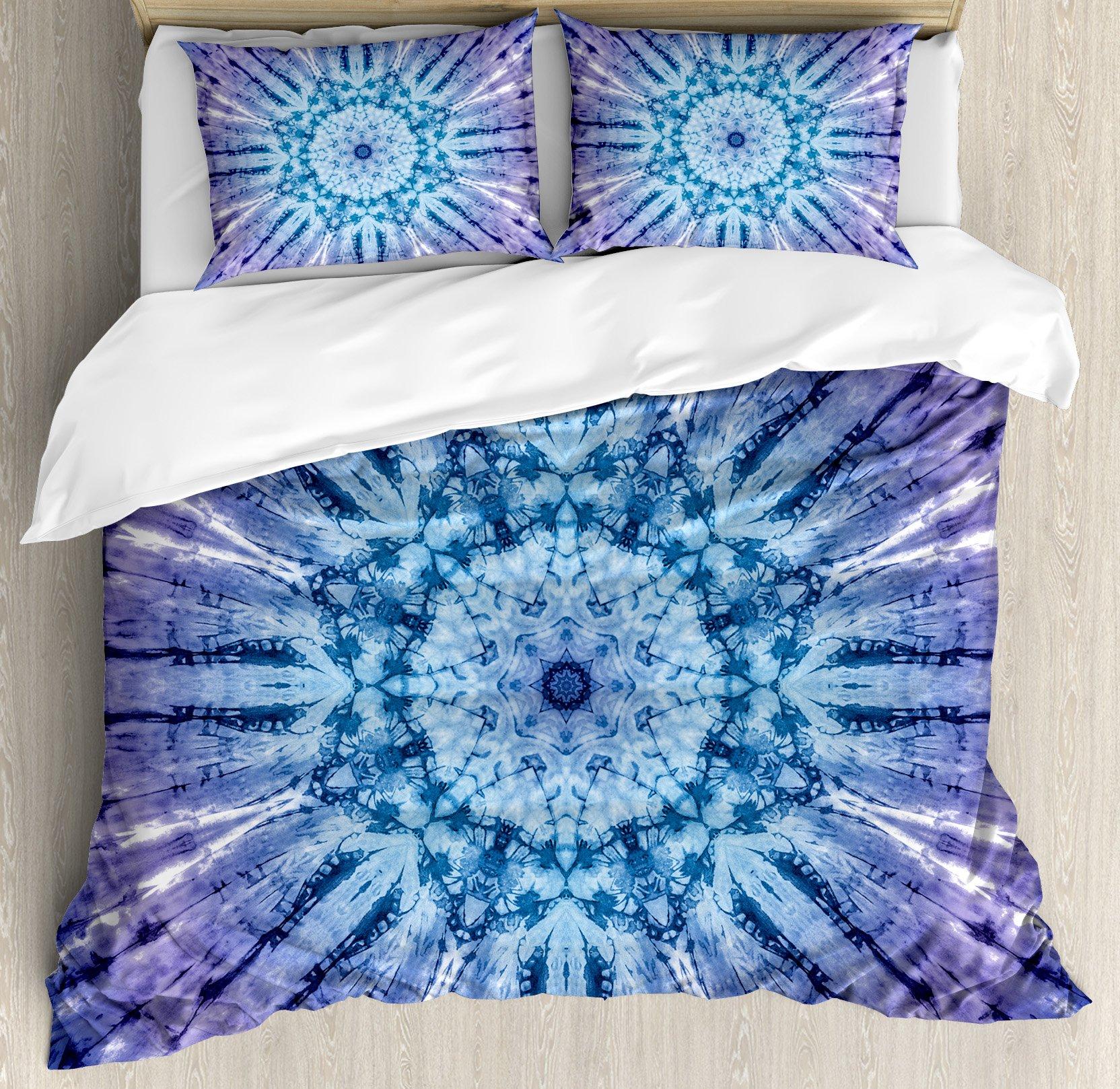Ambesonne Mandala Duvet Cover Set King Size, Original Circle Mandala Motif Centered Vibrant and Spectral Color Motion Graphic, Decorative 3 Piece Bedding Set with 2 Pillow Shams, Purple Blue