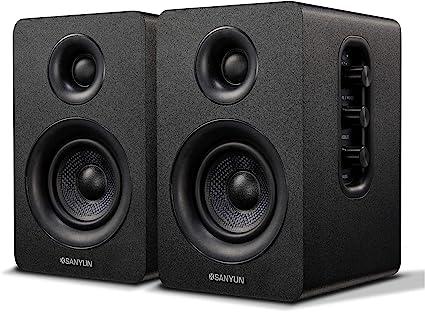 Amazon Com Sanyun Sw208 3 Active Bluetooth Bookshelf Speakers 60w Carbon Fiber Speaker Unit Aptx Codec Built In 24 Bit Dac Dynamic 3d Surround Sound Computer Pc Monitor Gaming