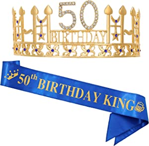 "50th Birthday Gifts for Man, 50th Birthday Crown and"" 50th Birthday King"" Sash, 50th Birthday Party Supplies and Decorations"