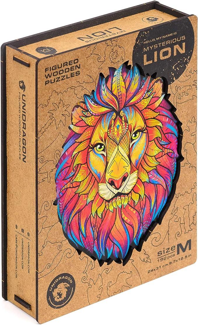 Amazon.com: Unidragon rompecabezas de madera – Piezas de sierra de calar de forma única mejor regalo para adultos y niños león misterioso 9.7 x 12.5 pulgadas, 192 piezas, mediano: Toys & Games