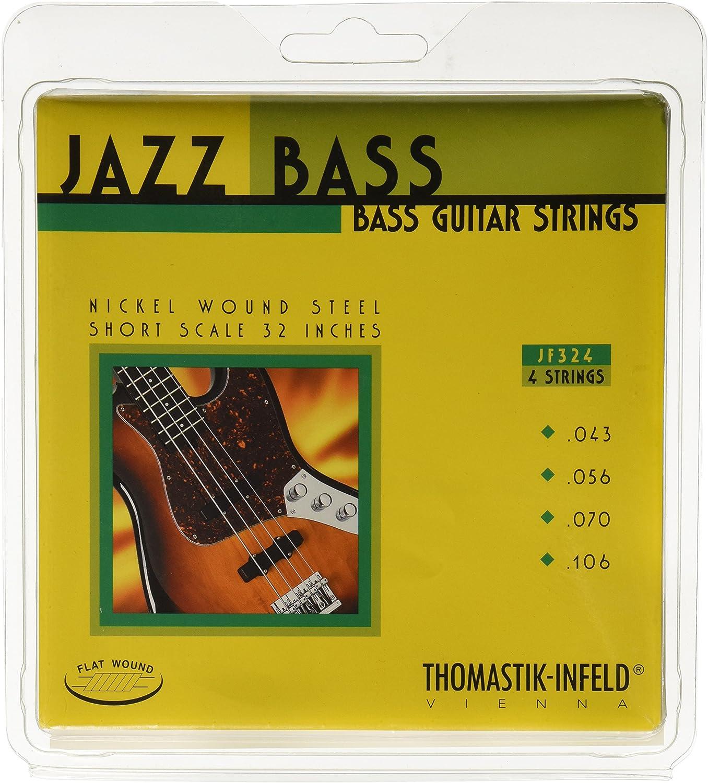 Thomastik Cuerdas para Bajo Eléctrico Jazz Bass Serie niquel entorchado plano juego 4 cuerdas JF324 escala corta 32