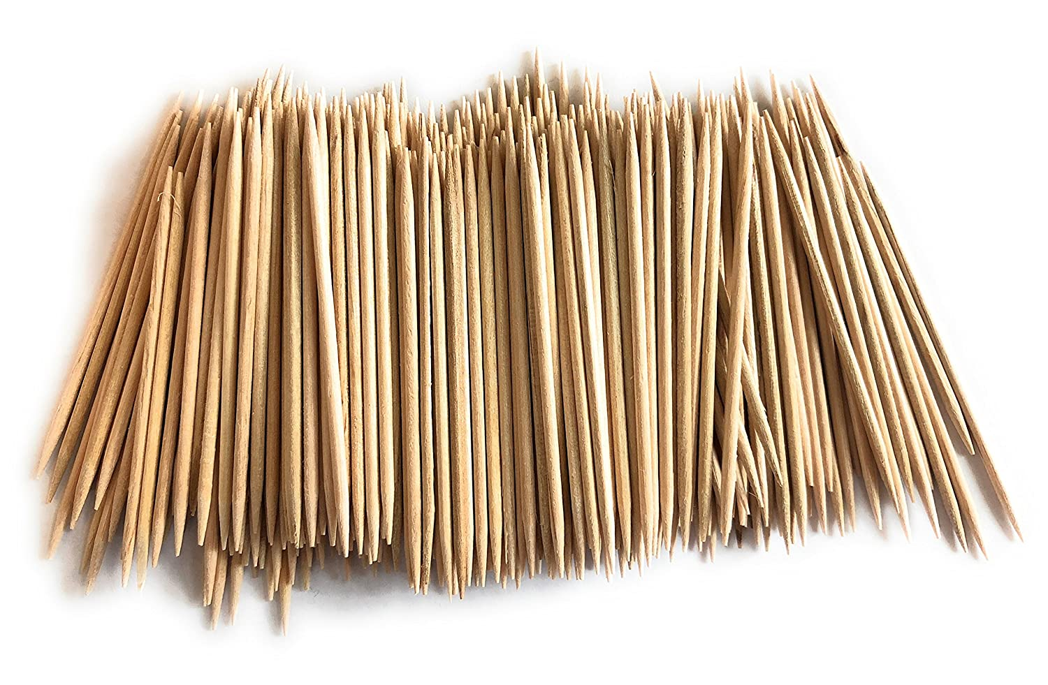 4 Boxes of 800 Count 3200 QTY Disposable 100/% Natural White Birch Wooden Toothpicks Rounded with Sharp Pointed Ends,