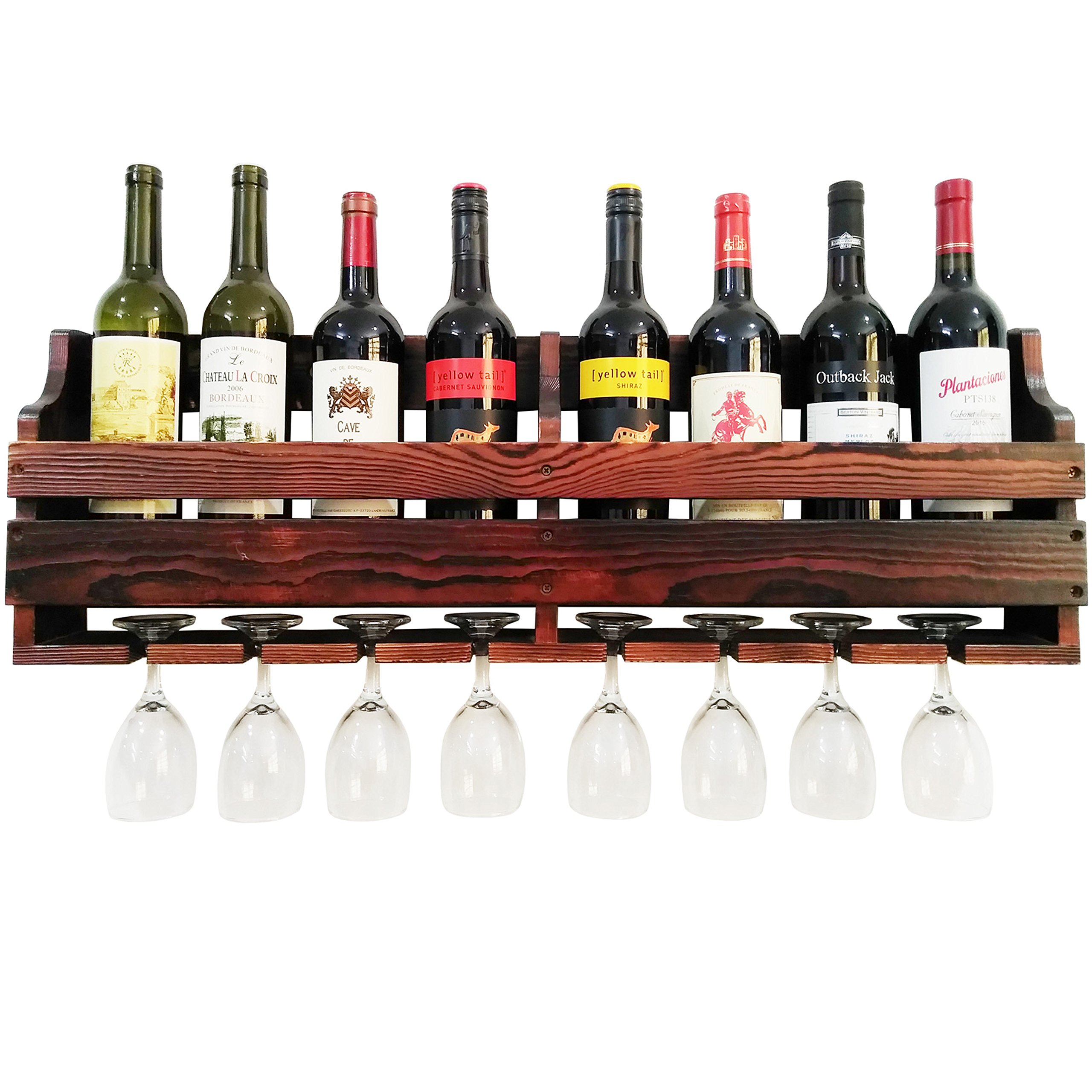 TUORUI Wine Rack Wall Mounted,Wine Glass & Wine Bottle Display Rack,pine wood,8 Bottle 8 Long Stem Glass Holder(Charcoal walnut color) by TUORUI