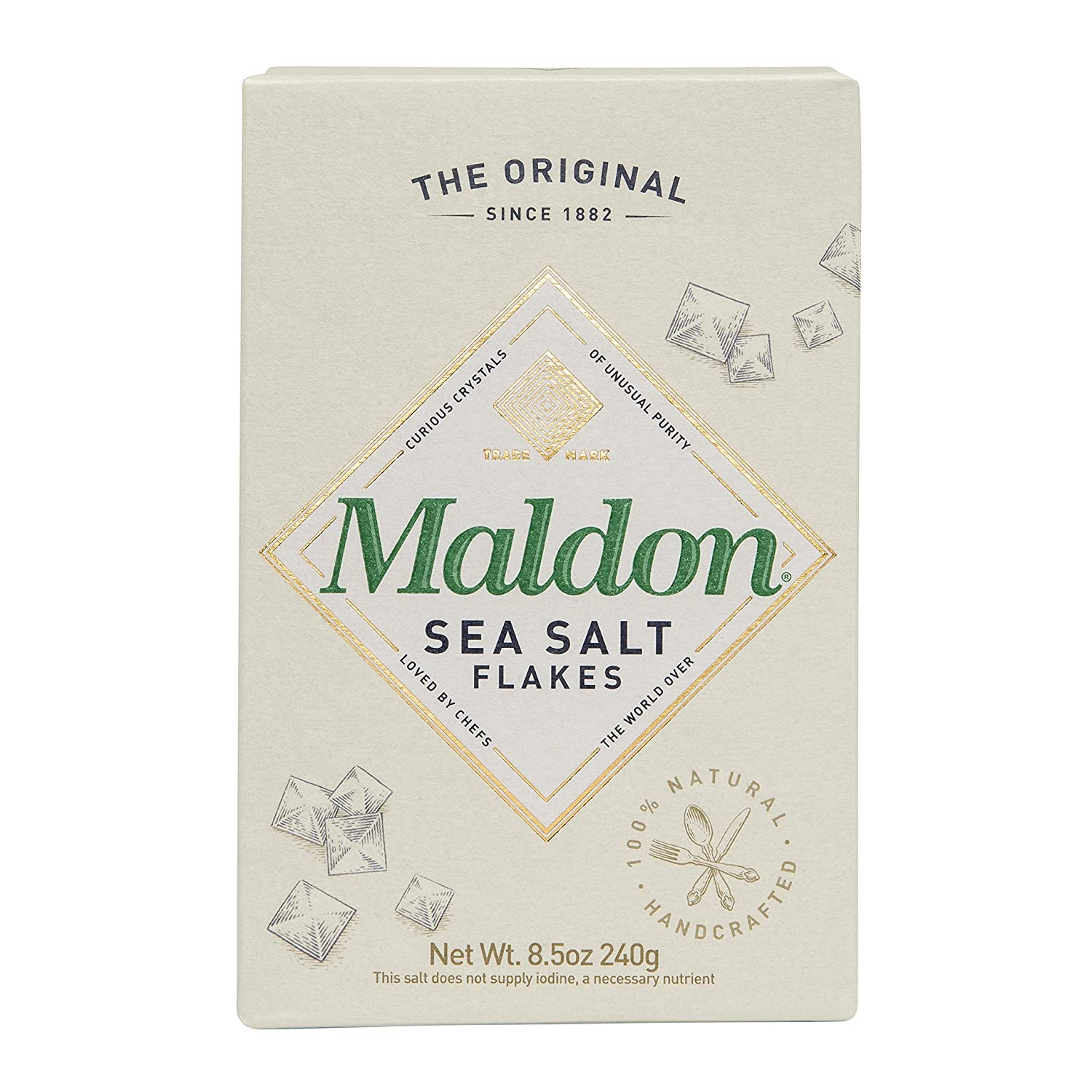 Maldon Salt, Sea Salt Flakes, 8.5 oz (240 g), Kosher, Natural, Handcrafted, Gourmet, Pyramid Crystals : Grocery & Gourmet Food
