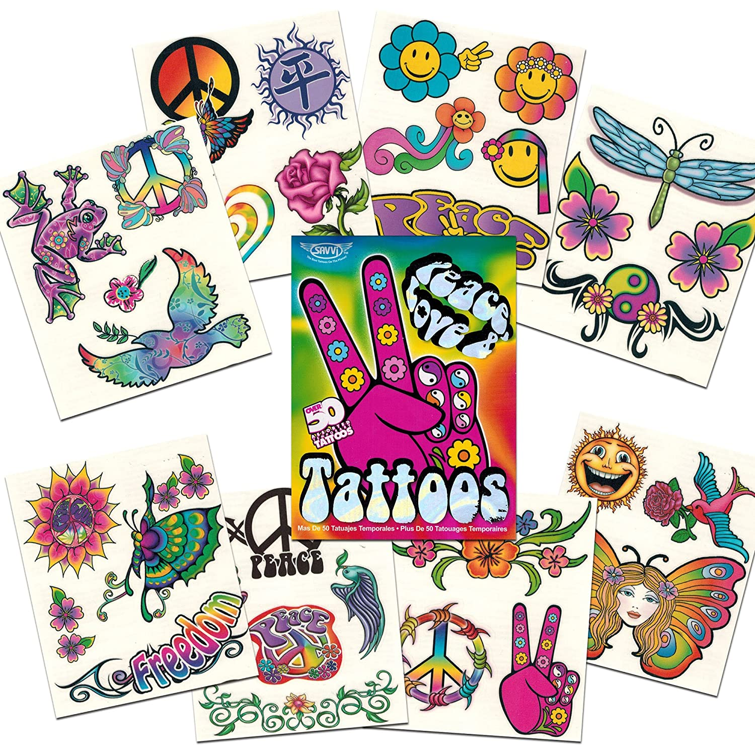 Hippie Temporary Tattoos Party Favor and Costume Set (50 Love and Peace Sign Temporary Tattoos) Savvi