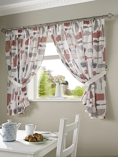 5 Sizes Free Tie-backs Poppies Embroidered Kitchen Curtains Pelmet avaliable