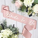 bachelorette sash rose gold satin white bride to