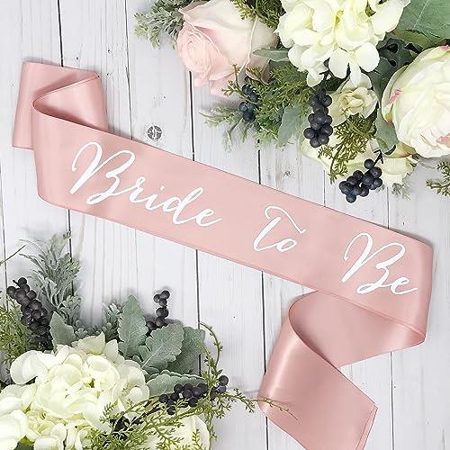amazon com bachelorette sash rose gold satin white bride to be