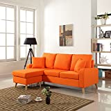 Mid Century Modern Linen Fabric Small Space Sectional Sofa with Reversible Chaise (Orange)