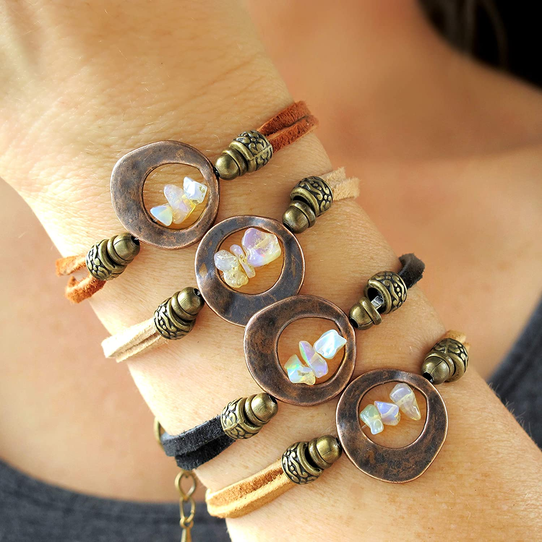 October Birthday Gift for Her October Birthstone Raw Opal Bracelet Stacker Bracelet Opal Sister Best Friend Delicate Mother/'s Mum
