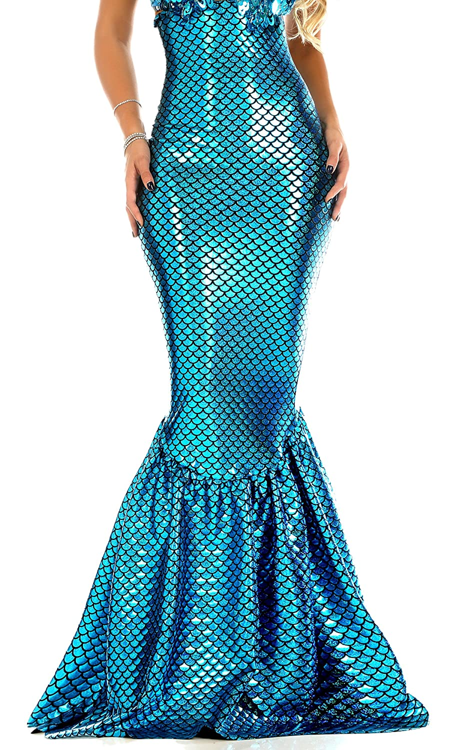 Women's High-Waisted Hologram Finish Turquoise Mermaid Skirt - DeluxeAdultCostumes.com