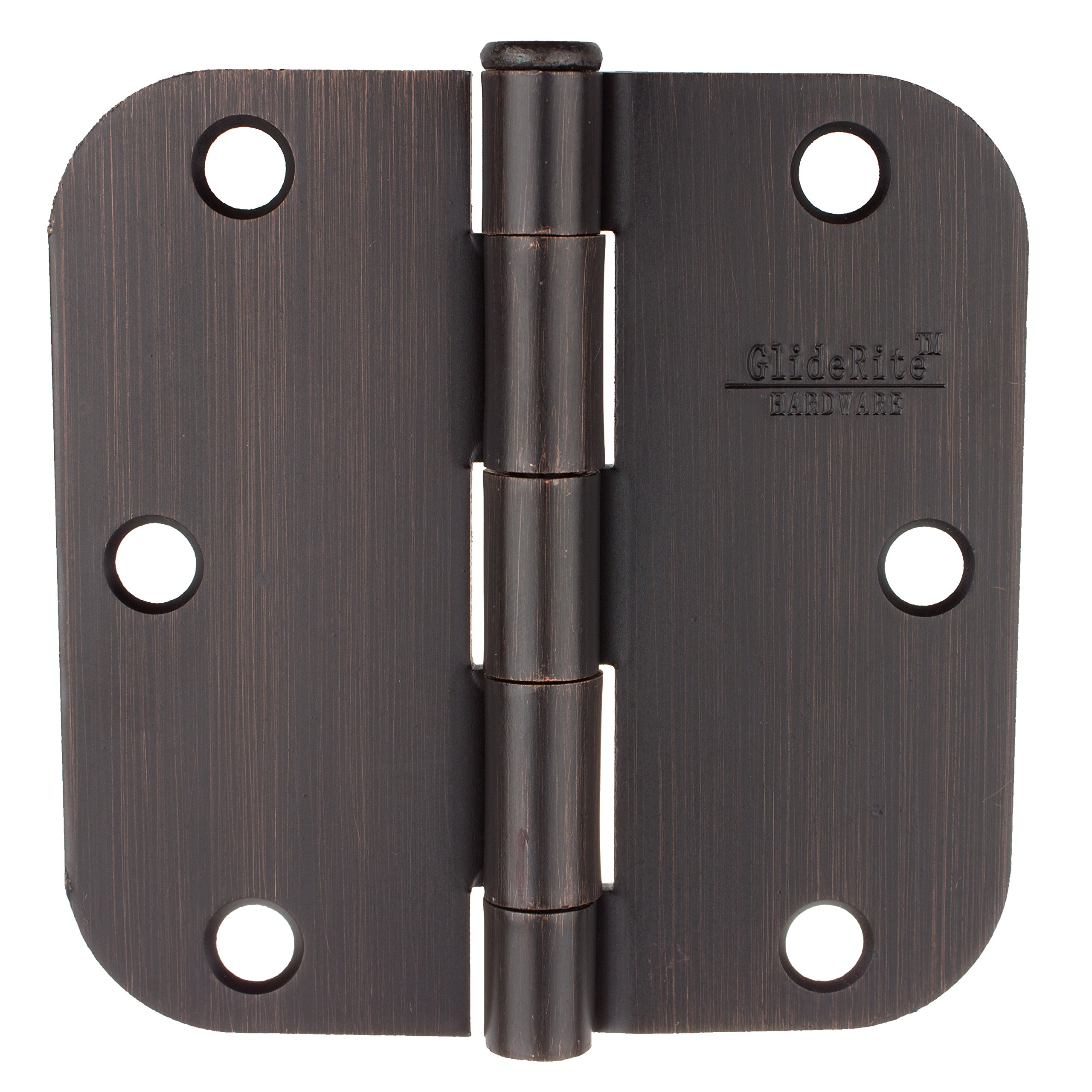 GlideRite Hardware 3558-ORB-100 3.5 inch steel Door Hinges 0.625 inch Radius Oil Rubbed Bronze Finish 100 Pack