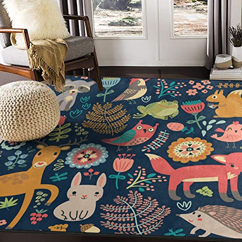 ALAZA Forest Owl Deer Hedgehog Fox Area Rug Rug