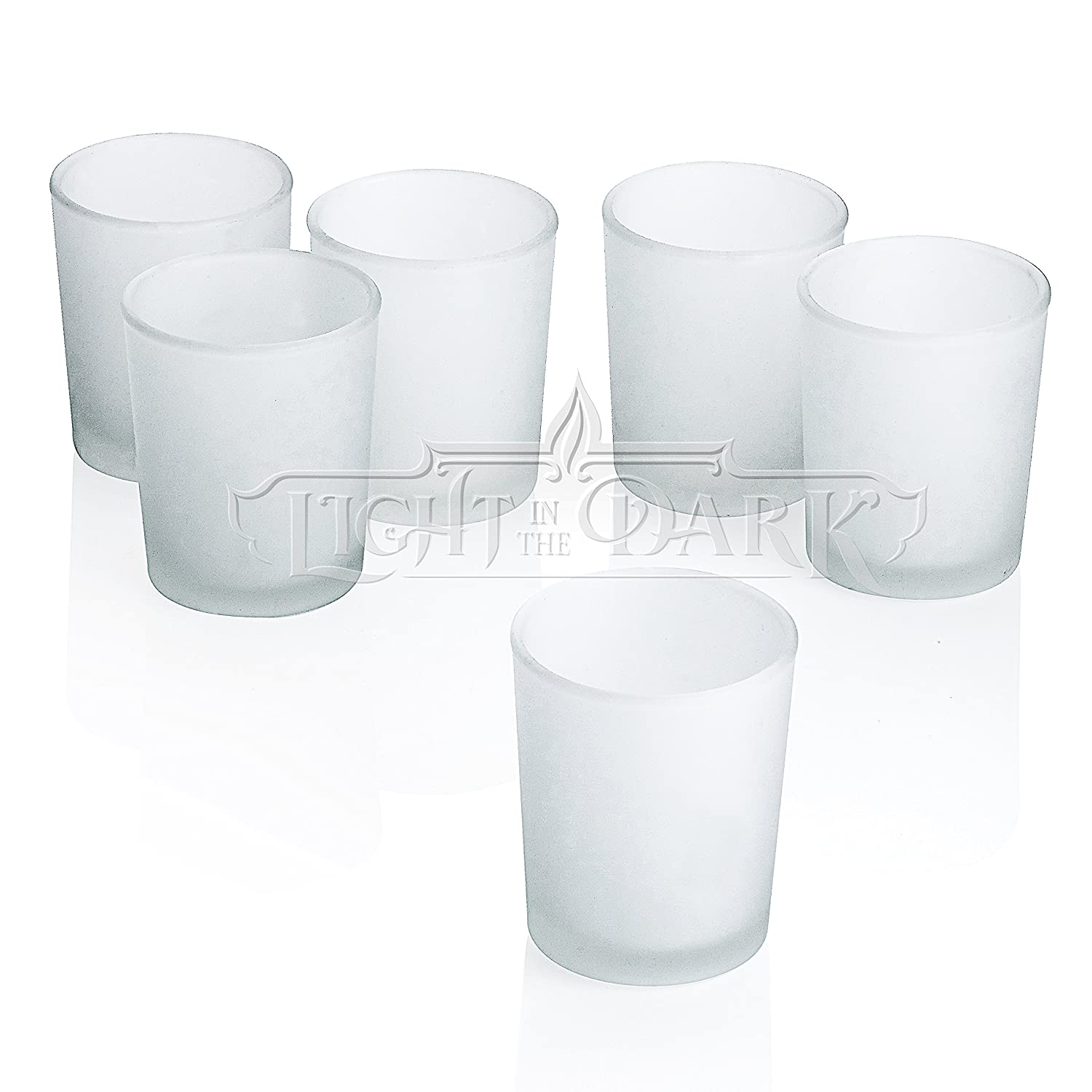 White Light In The Dark Clear Glass Square Votive Candle Holders Set of 12 Lawn Garden