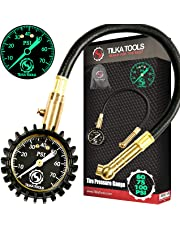 Tilka Tools Tire Pressure Gauge for Motorcycle Truck Car Bike (0-60) (0-75) (0-100 PSI) ANSI B40.1 Analog Dial Heavy Duty High Air Tester Best Gift Professional Commercial Rated SUV ATV