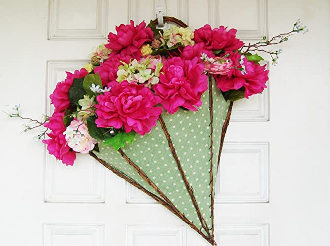 Amazon Com Bright Spring Summer Flower Umbrella Front Door Wreath